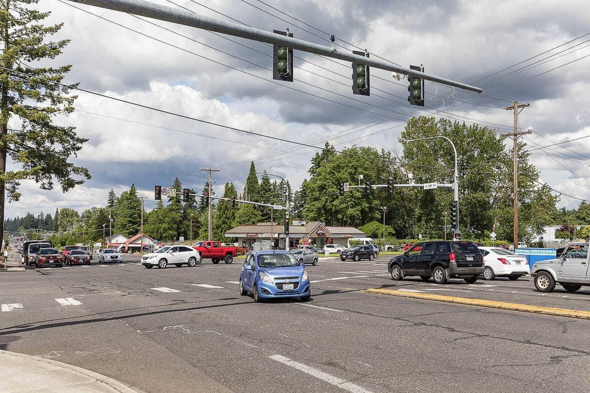 Contractor crews with Clark County Public Works will reduce the number of lanes to one lane in each direction at the intersection of Highway 99 and Northeast 99th Street the morning of Sat., Jan. 30. Photo by Mike Schultz