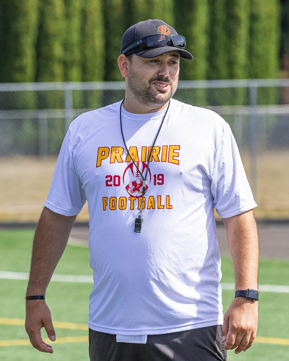 Prairie football coach Mike Peck, shown here prior to the 2019 season, said he was stunned Wednesday night when the WIAA announced football practice could start as early as Feb. 1. Photo by Mike Schultz