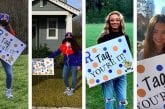 Ridgefield High School cheerleaders lift each other up by playing yard sign tag