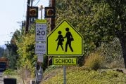 School zone signs in effect and enforceable