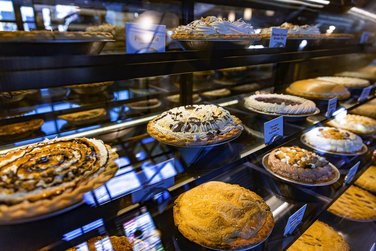 The first thing a person sees when walking into a Shari's is its display of pies. Photo by Mike Schultz