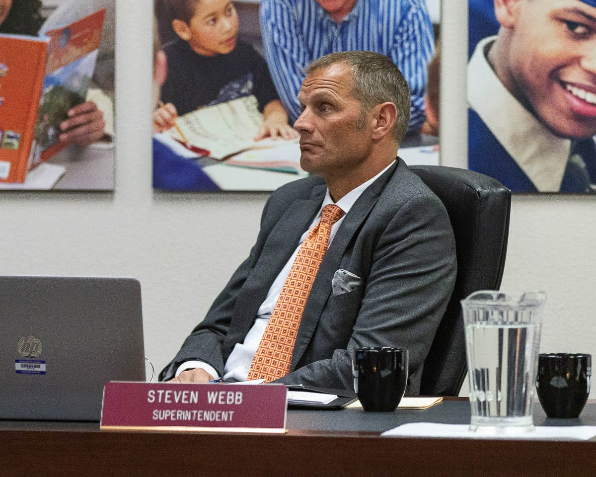 Vancouver Public Schools Superintendent Steve Webb, pictured at a meeting in 2019, is set to retire at the end of June. File Photo