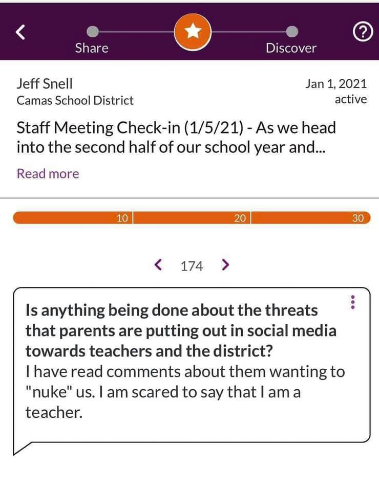 The Camas School District created the Thought Exchange for educators and staff to share issues and concerns. Here are many comments that have been shared on social media. Graphic Camas School District