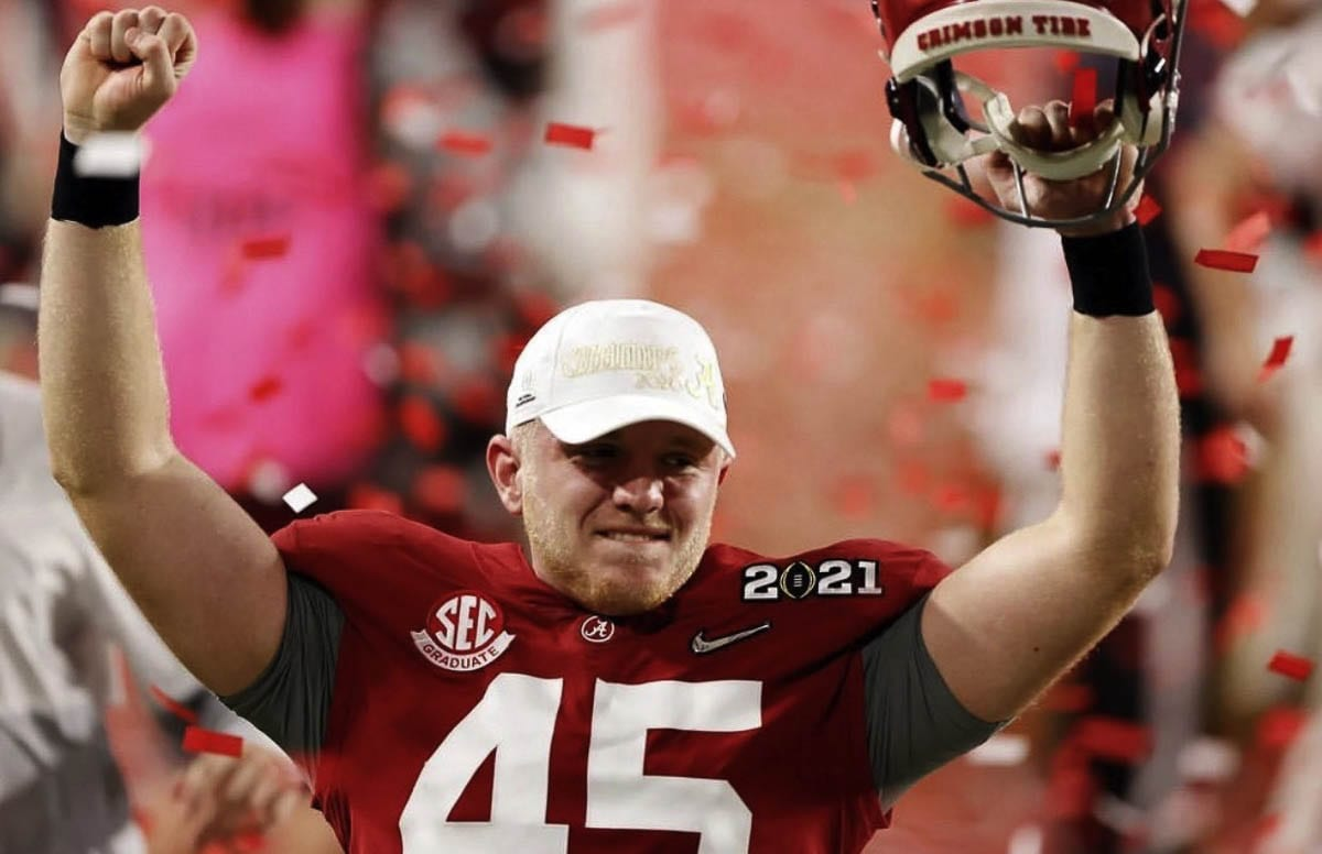 The teams Thomas Fletcher played on went 51-4 in his four-year career at Alabama, which included two national championships. He hopes to be a long snapper in the NFL. Photo courtesy Fletcher