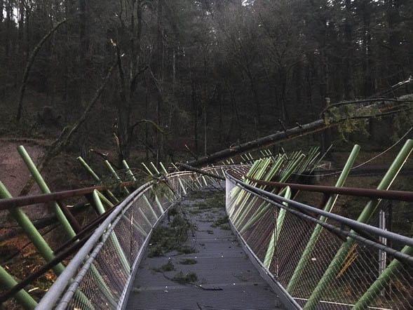 A landslide on West Burnside Road west of Portland brought trees and power lines down, damaging a pedestrian bridge. Photo courtesy Portland Parks and Rec