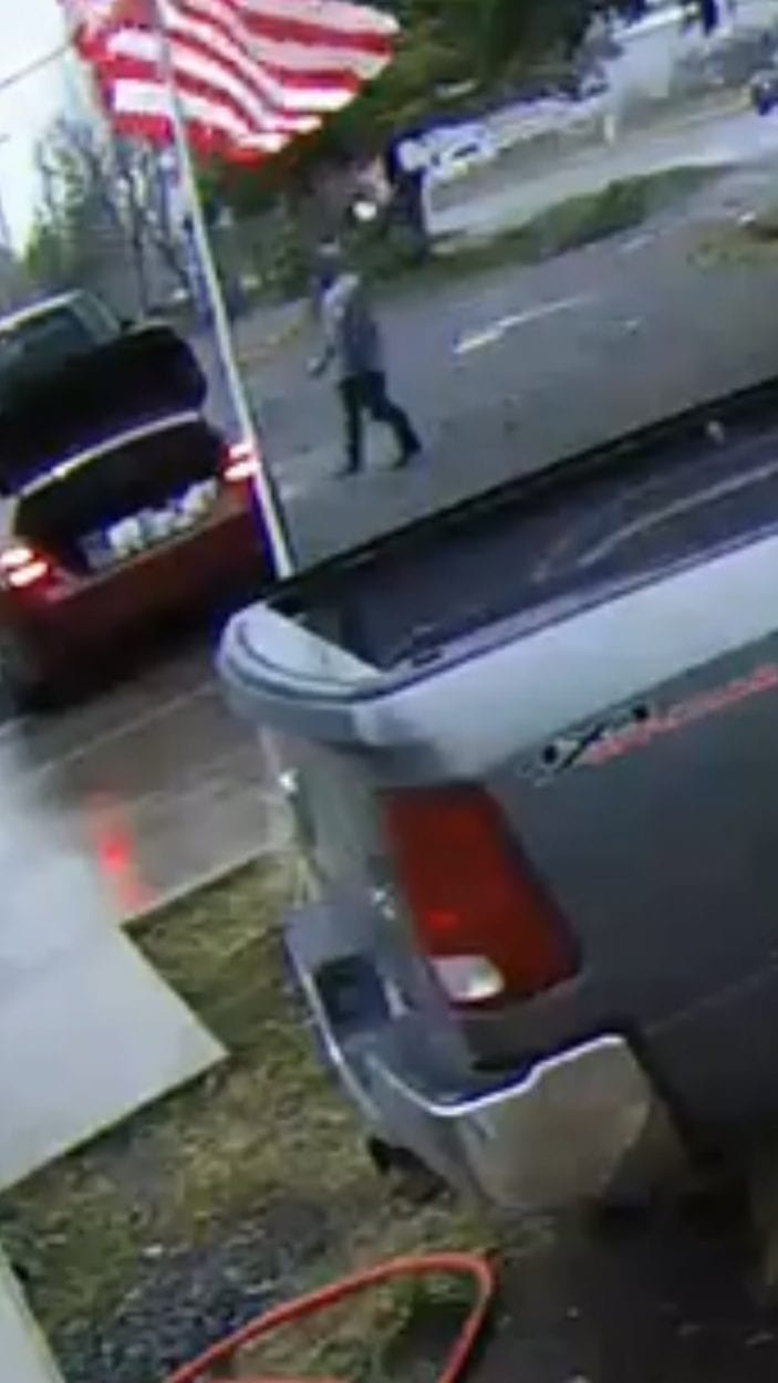 The suspect is described as a black male of average height, wearing grey hooded sweatshirt and black baggy pants. Photo courtesy of Clark County Sheriff's Office