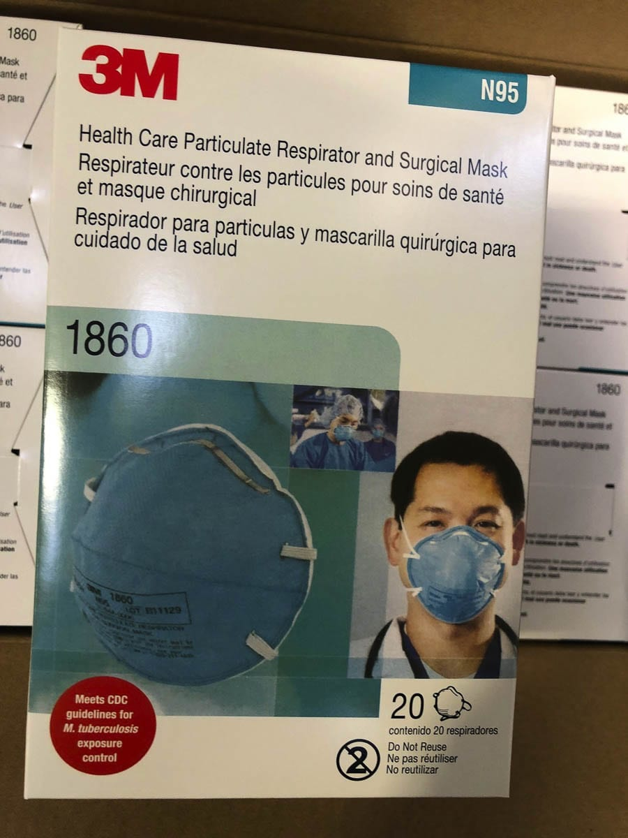 Boxes of counterfeit N95 masks looked nearly identical to legitimate ones from 3M. Photo courtesy Washington State Hospital Association