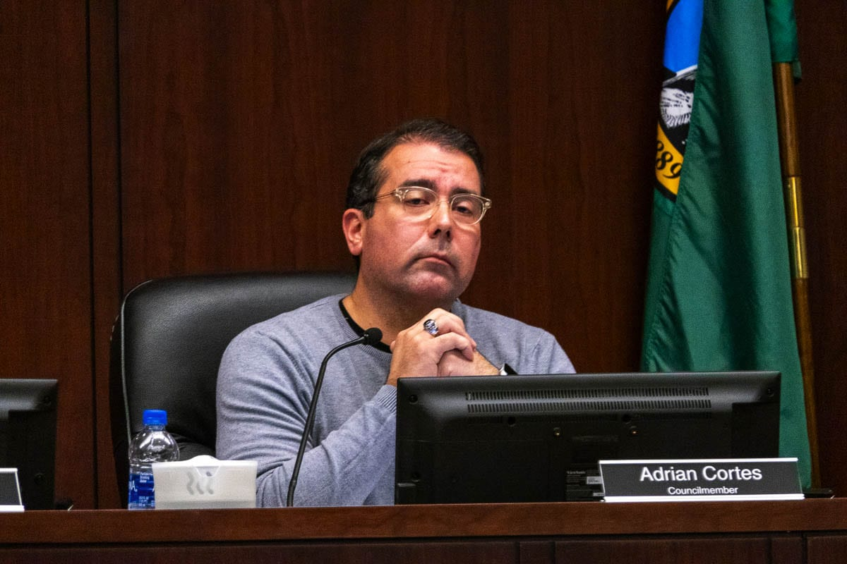 Battle Ground Mayor Adrian Cortes during a City Council meeting in 2019. Photo by Chris Brown