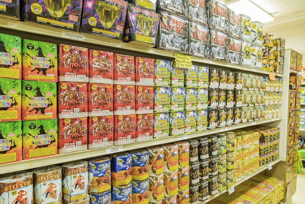 Rows of fireworks mortars line the shelves of Blackjack Fireworks in Hazel Dell. They would have been illegal starting next December until the county council reversed course on Tuesday. File photo