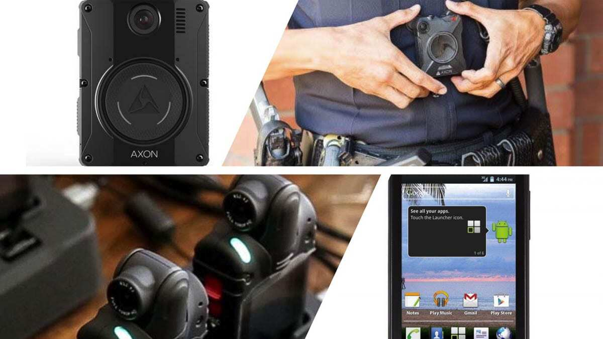 Different types of body-worn camera systems. Photo courtesy Clark County Sheriff's Office