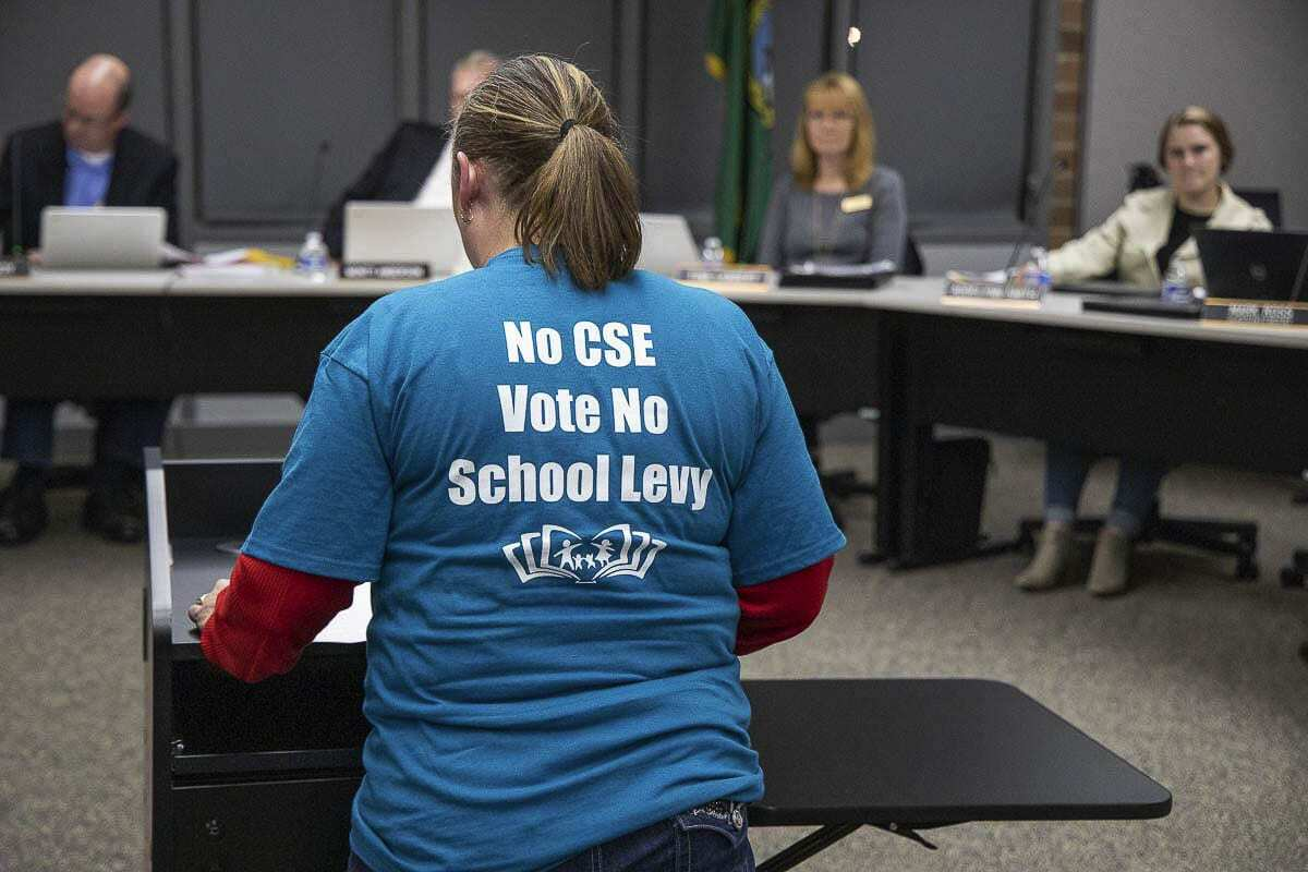 Jennifer Heine-Withee speaks during a Battle Ground Schools Board of Directors meeting in Oct. 2019, in opposition to the proposed acceptance of a Comprehensive Sexual Health curriculum. File photo
