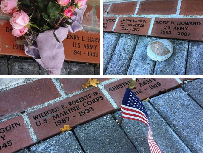 Commemorative bricks are engraved with the veteran's name, branch of service, and dates of service. Photo courtesy of city of Battle Ground