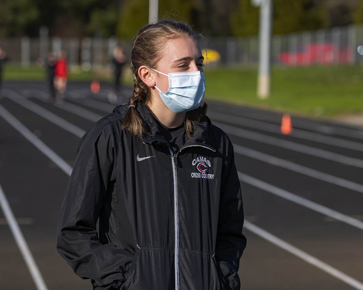 Gracie Buzzell helped Camas win by one point in her team's first race of the season. Buzzell said it was a bit nerve-racking to be racing for the first time in a year-and-a-half. Photo by Mike Schultz