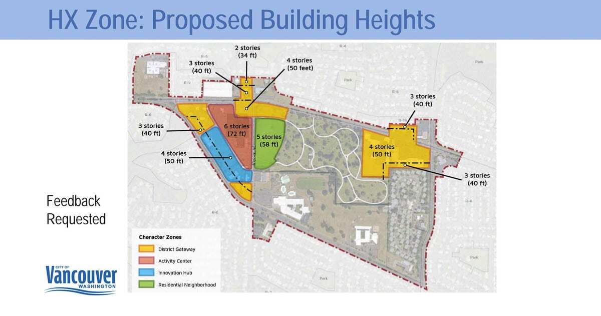 This graphic shows the latest building height proposals for The Heights District redevelopment plan. Image courtesy city of Vancouver
