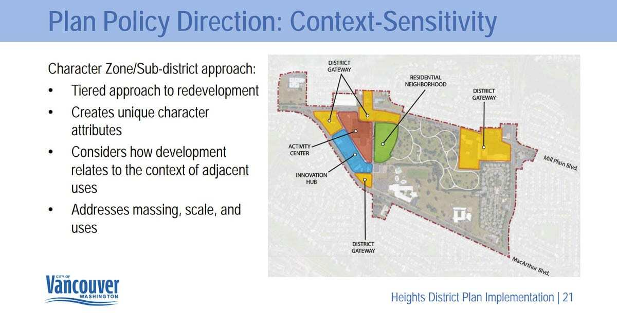 This graphic breaks down some of the key components in the proposed Heights District redevelopment plan. Image courtesy city of Vancouver