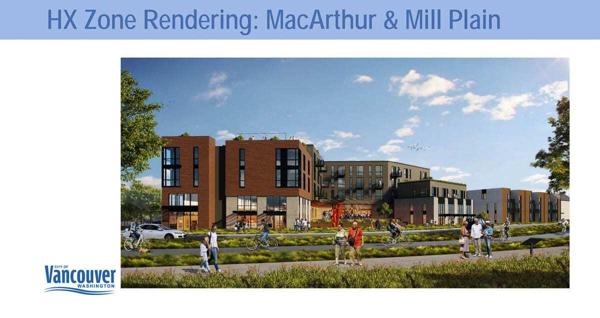 A render showing potential building heights near Mill Plain and MacArthur Blvd. Image courtesy city of Vancouver