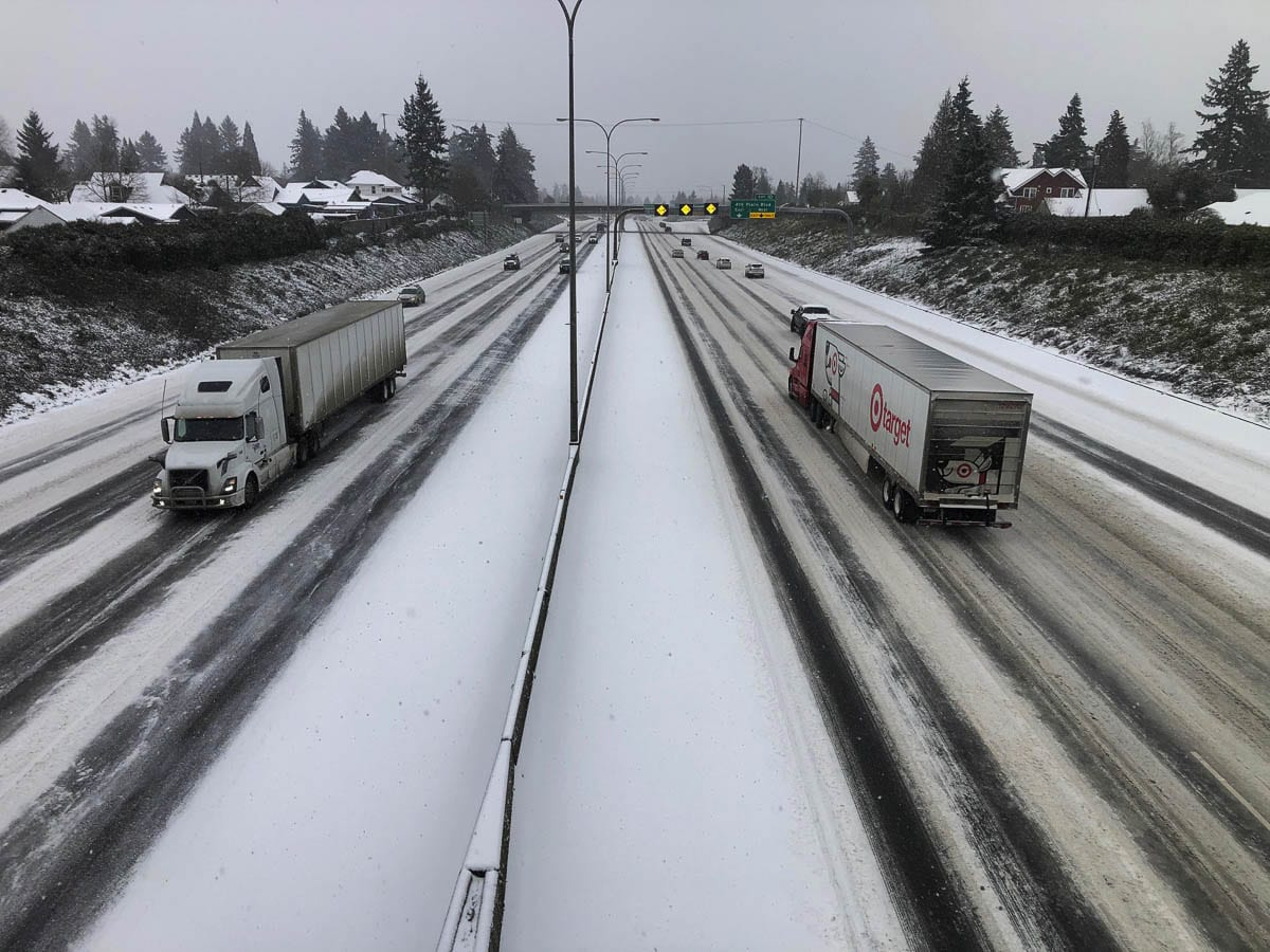Snowy road conditions have prompted the Washington Dept. of Health to close the Fairgrounds vaccination site for Friday and Saturday. Photo by Mike Schultz