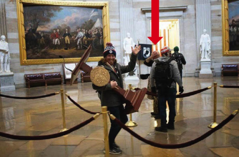 Jeffrey Grace, 61, of Battle Ground can be seen in the background of this photo taken during the breach of the U.S. Capitol building. Photo courtesy Federal Bureau of Investigations