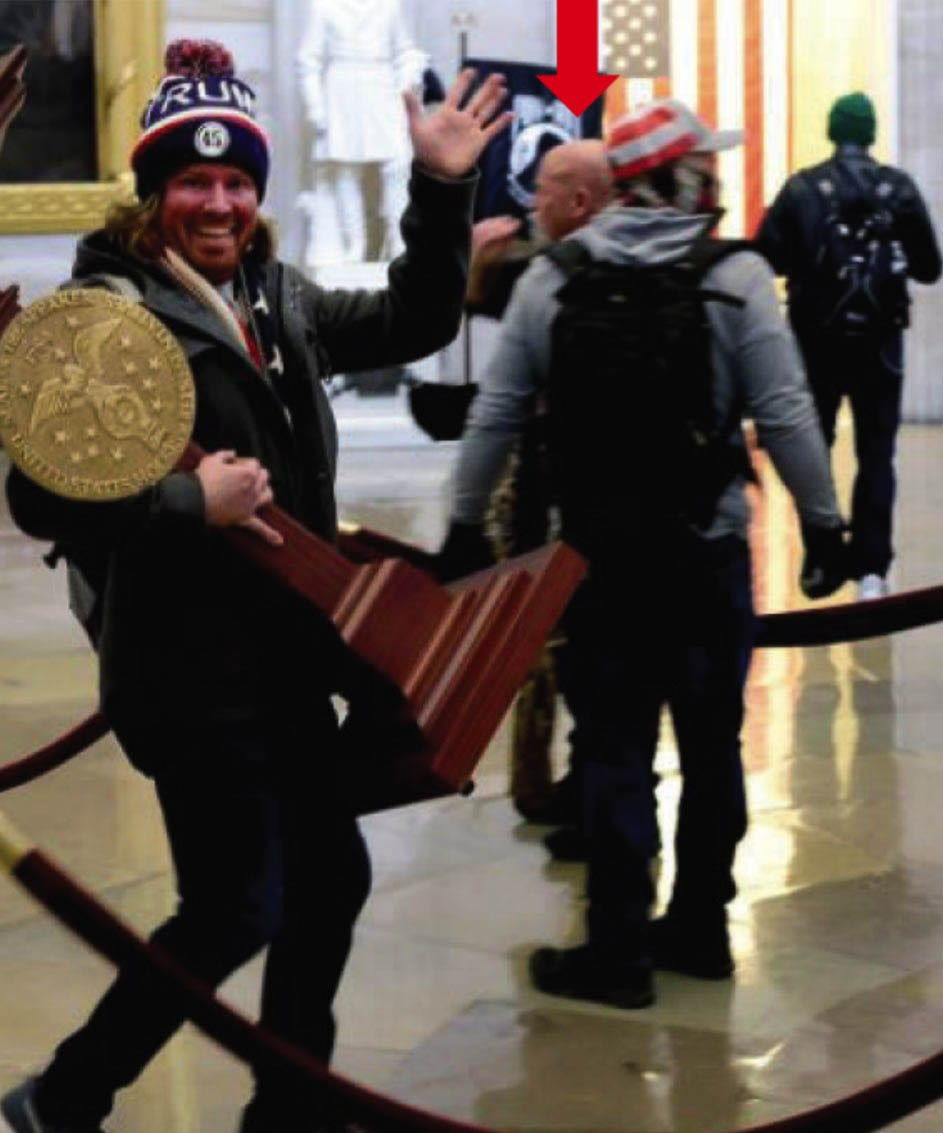 Battle Ground resident Jeffrey Grace, 61, was identified in the background of this now-infamous photo taken during the breach of the U.S. Capitol building on Jan. 6. Photo courtesy Federal Bureau of Investigations