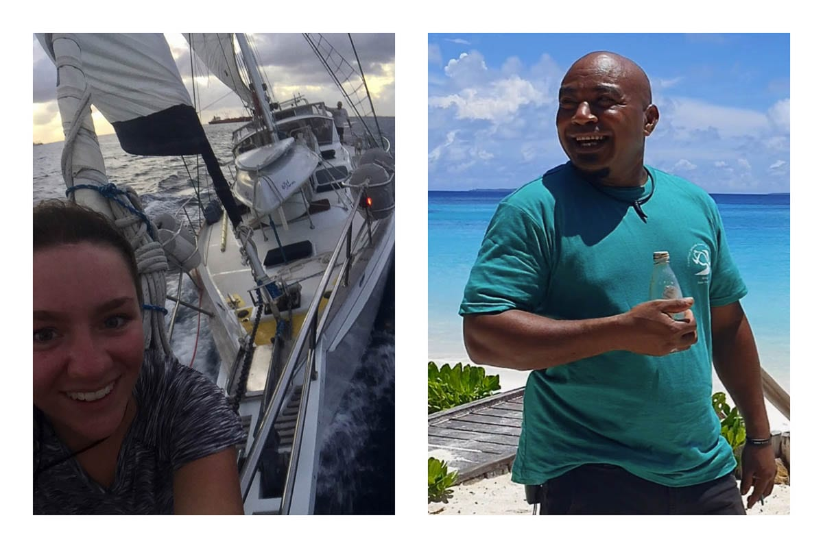 Niki (left) sails on her family's 60-foot sailboat, and Steven Amos (right) walks down the beach of the Conflict Islands after finding the bottle. Photos courtesy of Niki and Hayley Versace
