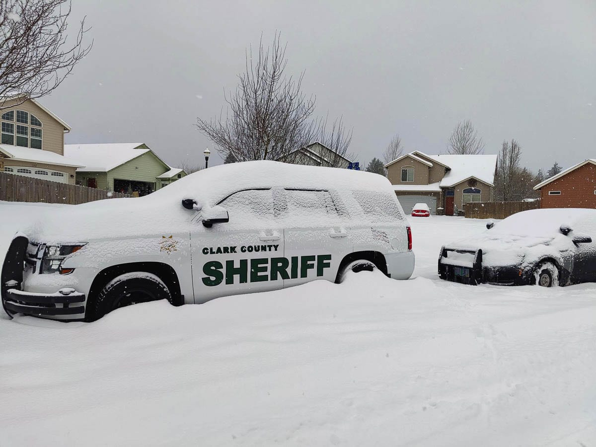 Clark County has declared a state of emergency for the Greater Clark County area effective Sat., Feb. 13 due to winter storm conditions. This photo shows a Clark County Sheriff's Office vehicle under snow in Battle Ground Saturday morning. Photo by Chris Brown