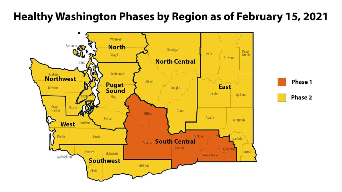Seven of eight regions in Washington have been approved to enter Phase 2 of reopening, starting Mon., Feb. 15. Image courtesy Office of Washington Gov. Jay Inslee