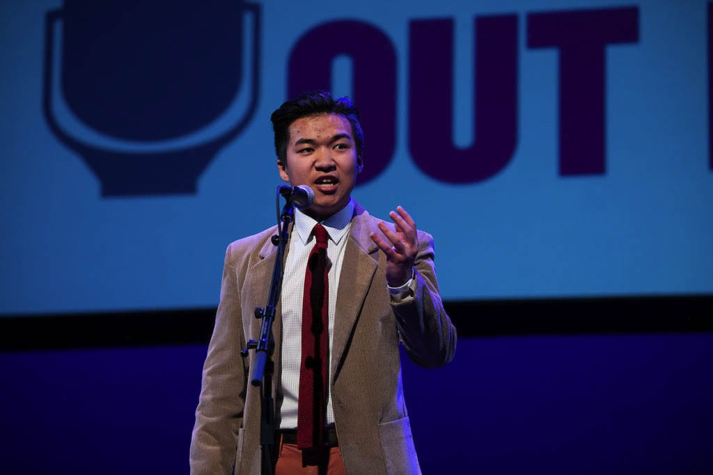 Last year's Washington state winner, Isaac Lu of Ridgefield, is seen here at the national competition in 2019. Photo courtesy of Poetry Out Loud