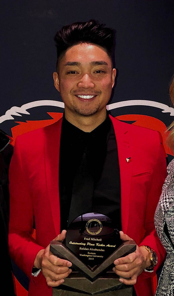 Roldan Alcobendas, who graduated from Camas, was named the top kicker in the country for Eastern Washington back in 2018. He is one of four Clark County athletes to be on EWU's all-decade team. Photo courtesy Roldan Alcobendas