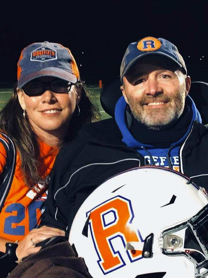 Sarah and Taz Roberts were married for 31 years and had known each other since kindergarten. Taz made a huge impact in Ridgefield and throughout the football community before he died in November after a long battle with ALS. Photo courtesy of the Roberts family