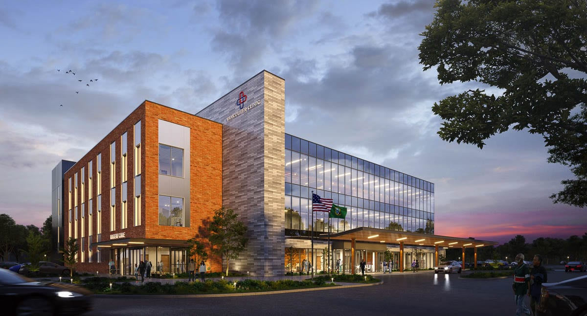 The 3-story, 75,500-square-foot building is scheduled to open in November 2022. It will sit across the parking lot from the existing Salmon Creek location. Photo courtesy of Vancouver Clinic
