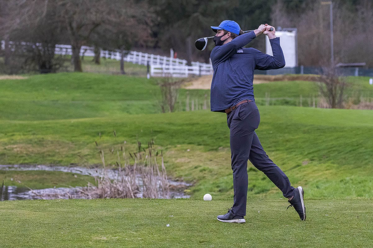 Thomas Pedigo of Skyview was one of the first athletes to return to sports, competing Monday with his team at Tri-Mountain Golf Course. Photo by Mike Schultz