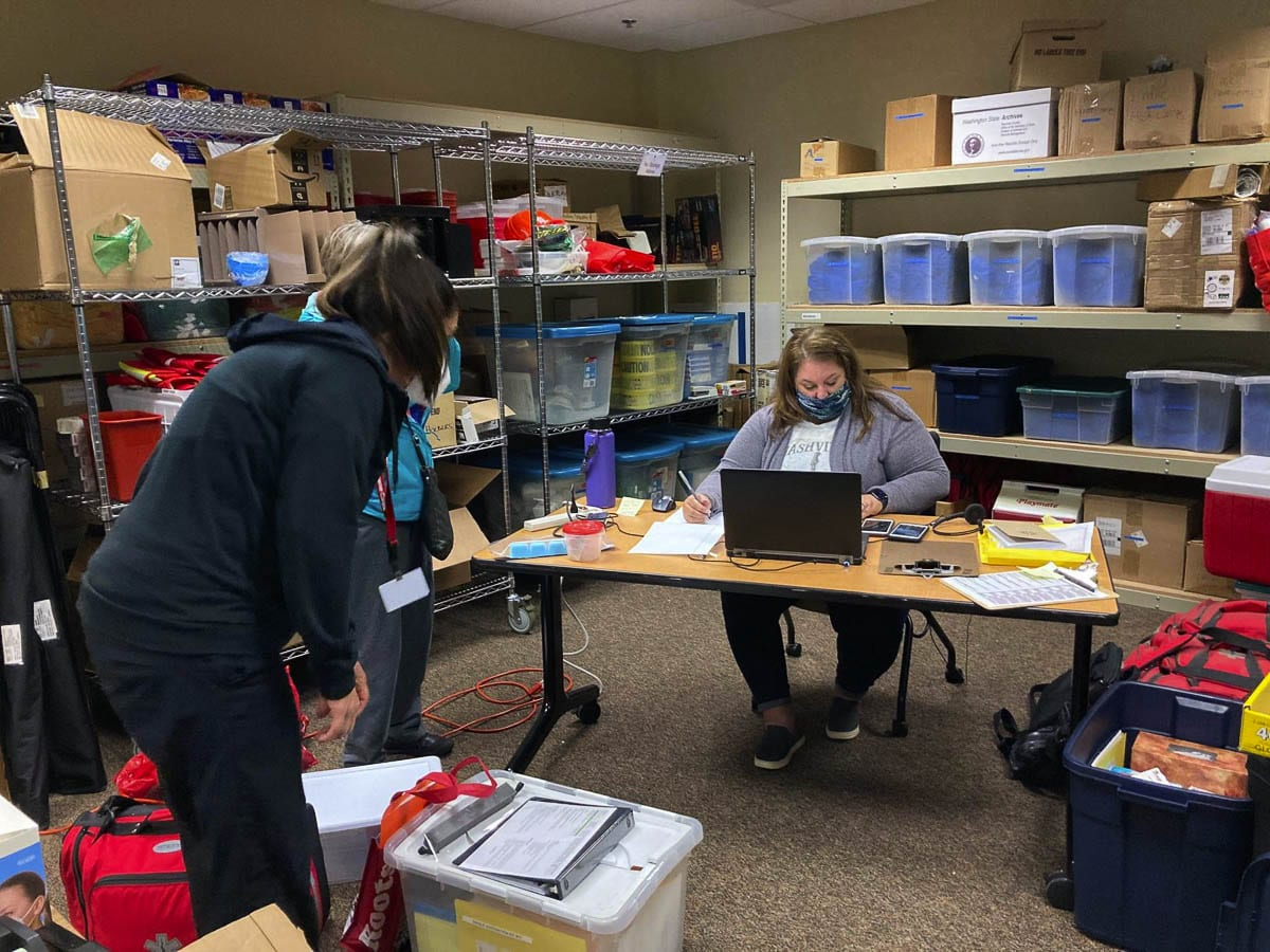 Medical Corps volunteers work to prepare vaccinations for long-term care homes in Clark and Cowlitz county. Photo courtesy Clark County Public Health