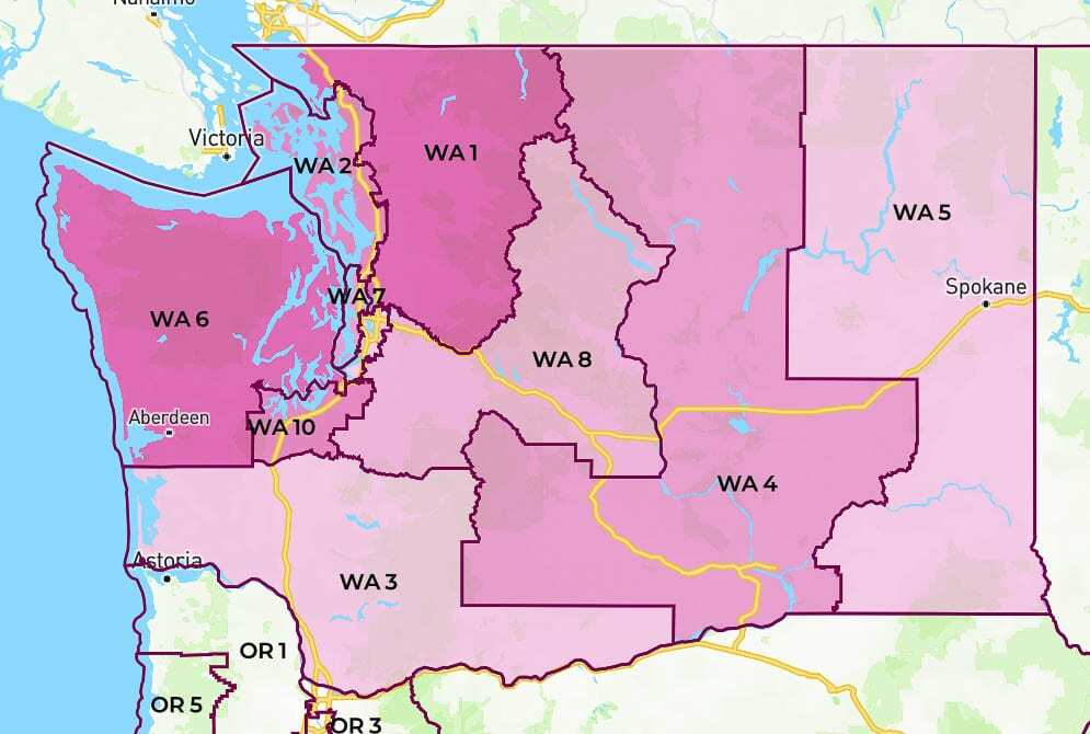 Washington's 10 federal congressional districts are shown here on an interactive map accessible on the GovTrack website. Photo courtesy of GovTrack