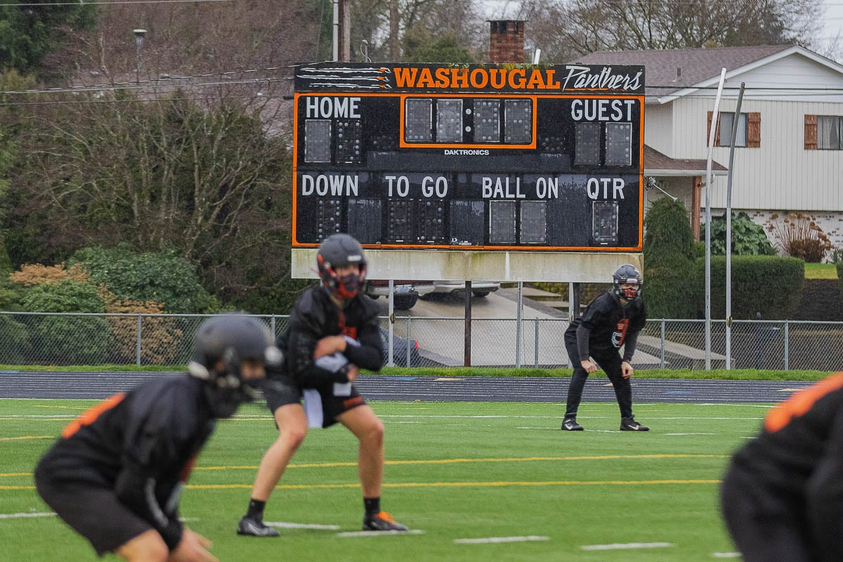 The Washougal Panthers and football teams across the state started practice on Monday in hopes of an abbreviated season soon. Photo by Mike Schultz