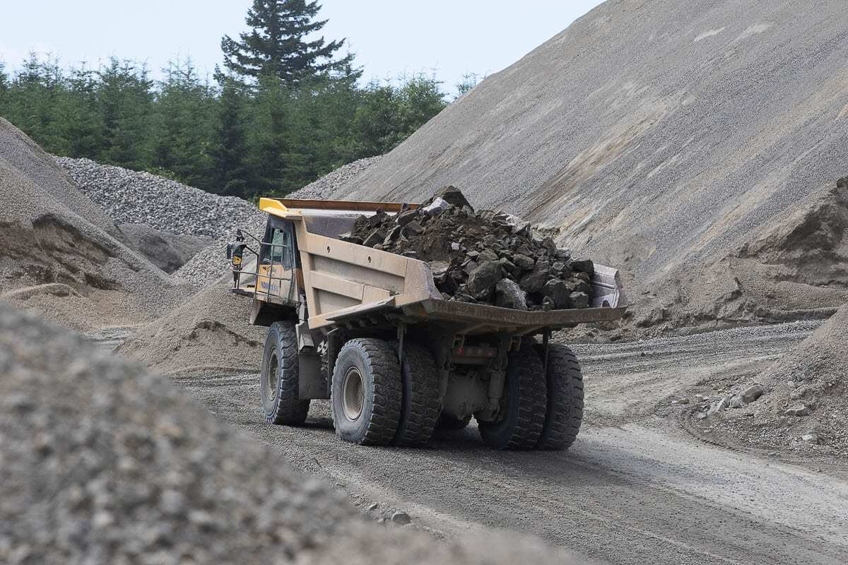 Aggregate like that shown being hauled at Yacolt Mountain Quarry here is often found in very specific areas that often are no longer available for mining due proximity to residences. Photo by Mike Schultz