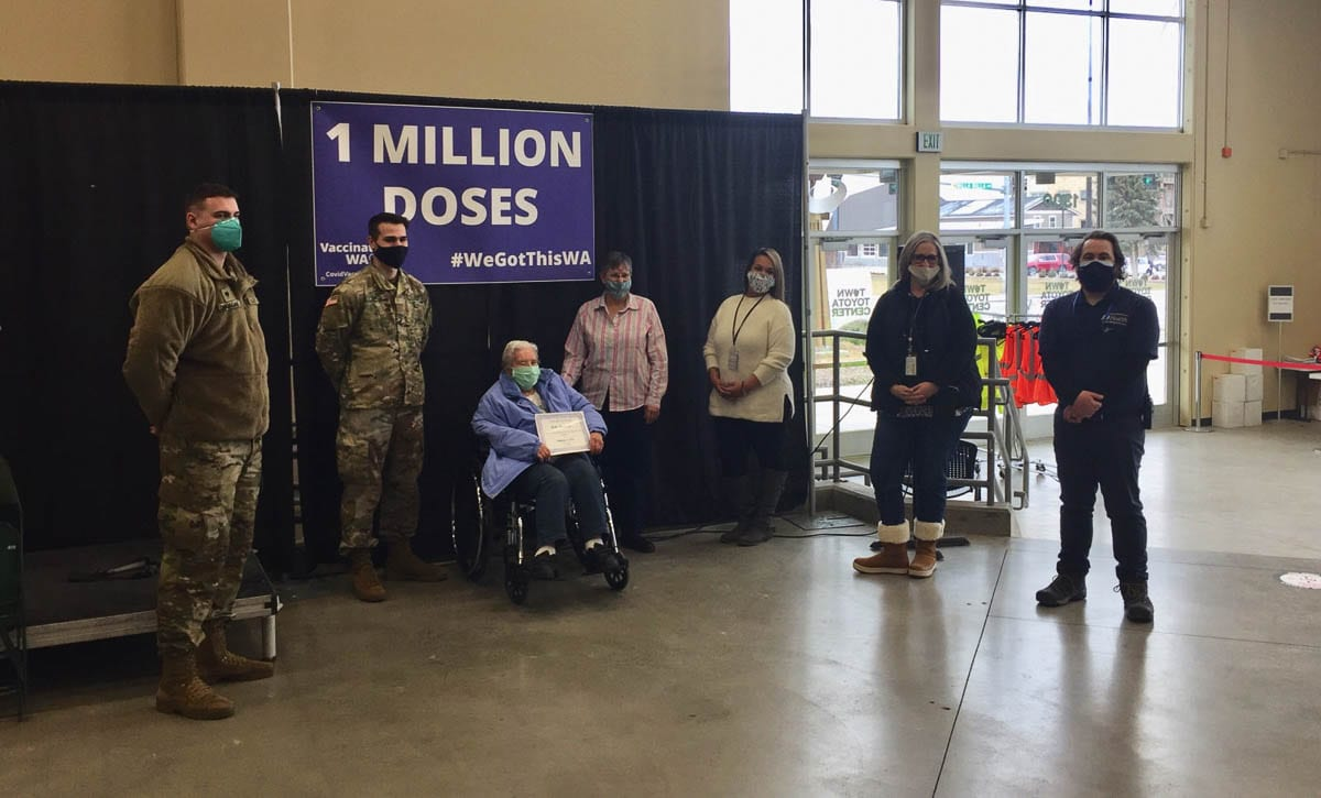 Ruby T., 90, of Wenatchee received the millionth dose of COVID-19 vaccine on Friday. Photo courtesy Washington Dept. of Health