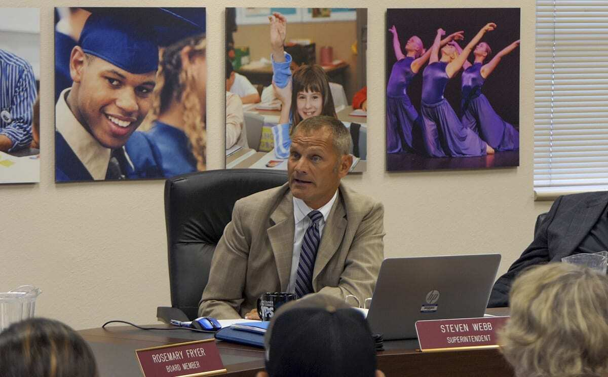 Former Vancouver Public Schools Superintendent Steve Webb at a budget meeting in 2019. Photo by Chris Brown