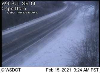 SR-14 at Cape Horn was a sheet of ice Monday morning. Image courtesy WSDOT