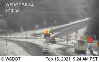 Treacherous conditions prompted WSDOT to re-close SR-14 to all traffic from east of Washougal to the Hood River Bridge on Monday. Image courtesy WSDOT