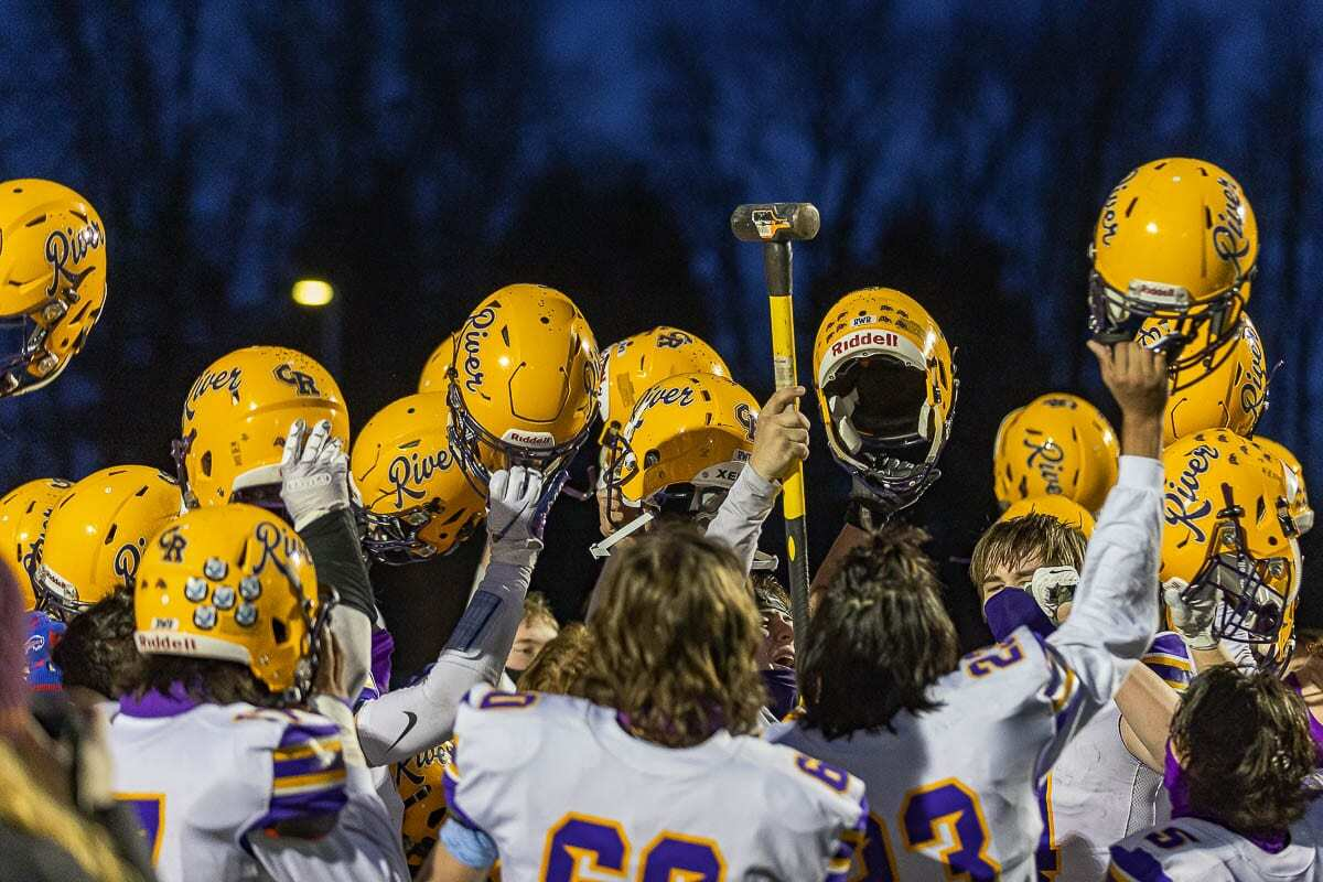Honoring the Columbia River name, the high school's football team played for purple and gold pride once the season started in February. Students have the opportunity to vote for a new mascot -- Rapids, Purple Tide, Captains or just Columbia River. Photo by Mike Schultz.