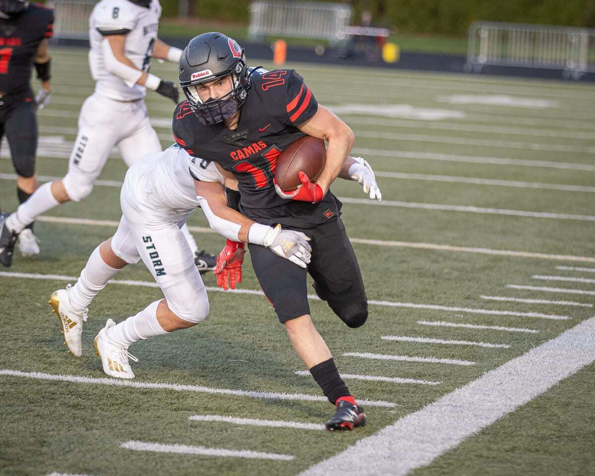 Camas' Bryce Dewey caught two touchdown passes and set up another touchdown with a long reception in Tuesday's 38-31 win over Skyview. Photo by Mike Schultz