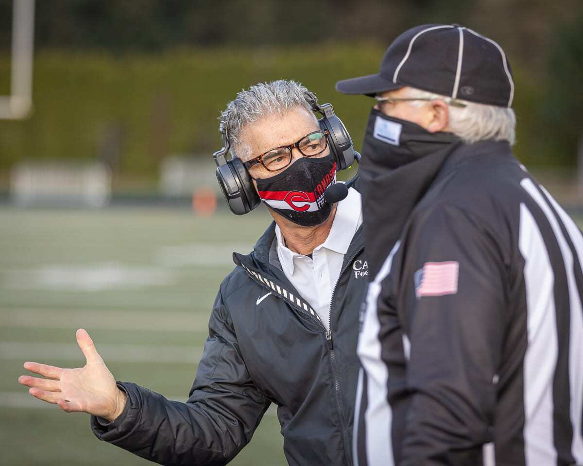 Camas coach Jon Eagle said playing three games in nine or 10 days would not be ideal long-term, but for this pandemic schedule, it is the right call, to allow football players the opportunity to play. Photo by Mike Schultz