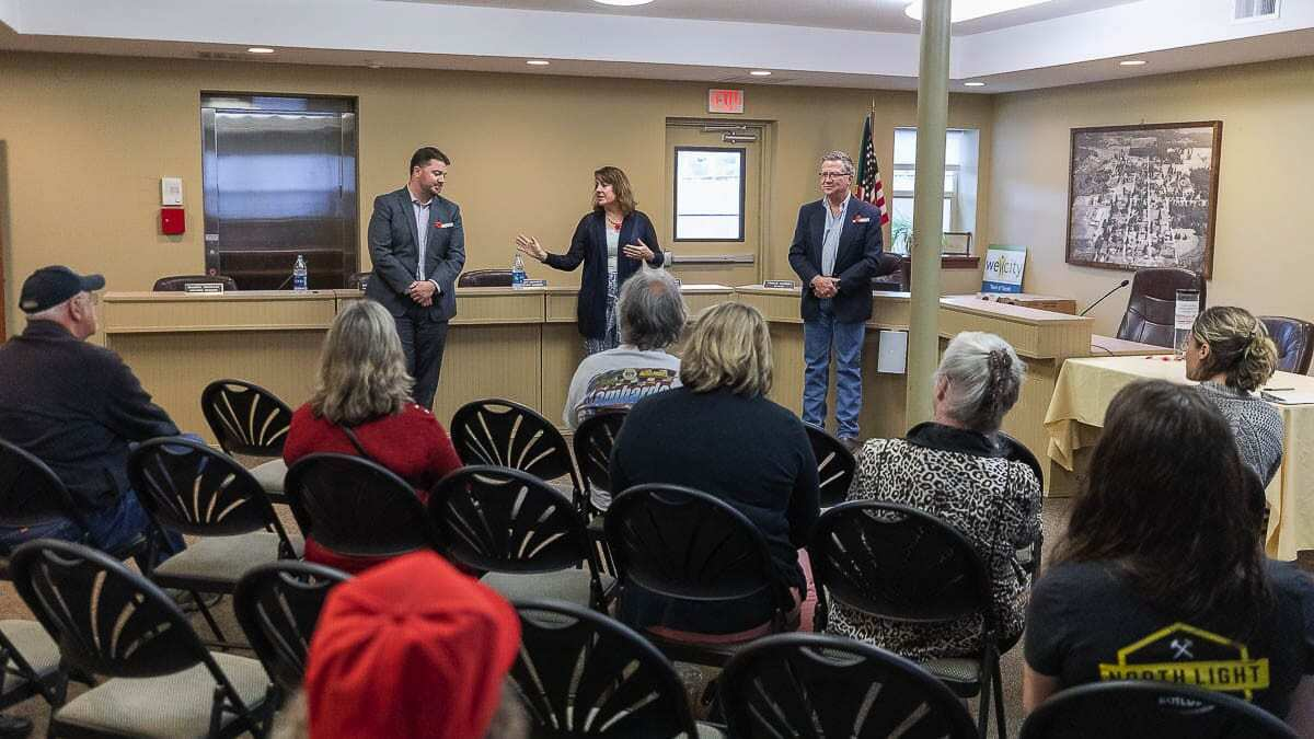 Sen. Ann Rivers and Reps. Brandon Vick and Larry Hoff are shown here at a public meeting in Yacolt in years past. The legislators hosted a 60-minute telephone town hall Monday to discuss COVID relief and reducing taxes during this economic struggle. (File photo)