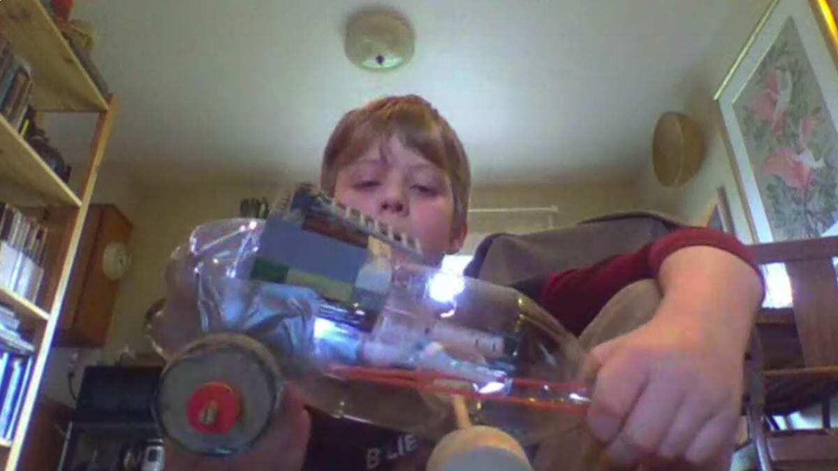 Aengus Gebhart built an elaborate Lego cockpit for his clay figure on a soda bottle go-kart. Photo courtesy of Ridgefield School District