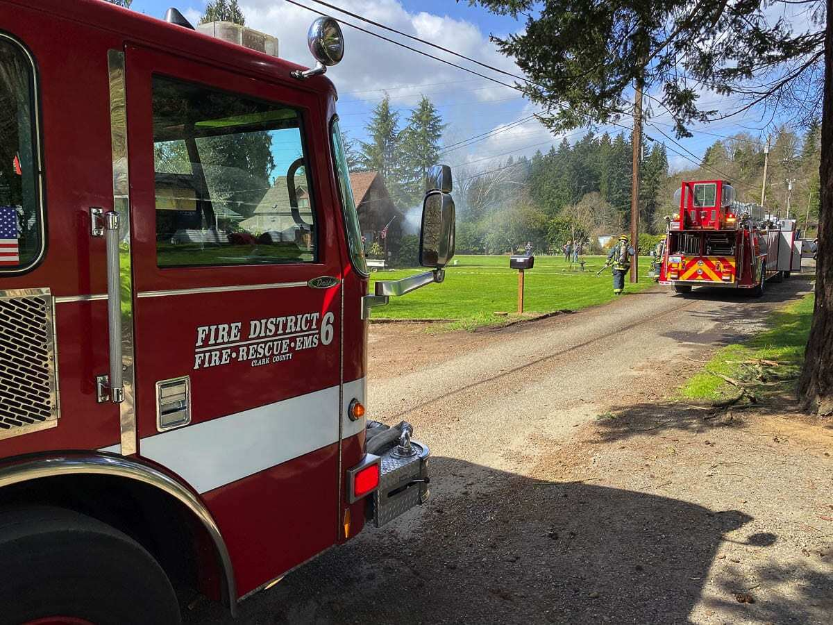 The first, on NW Alki Road, started in an historic structure and was burning when fire engines arrived. Photo courtesy of Clark County Fire District 6