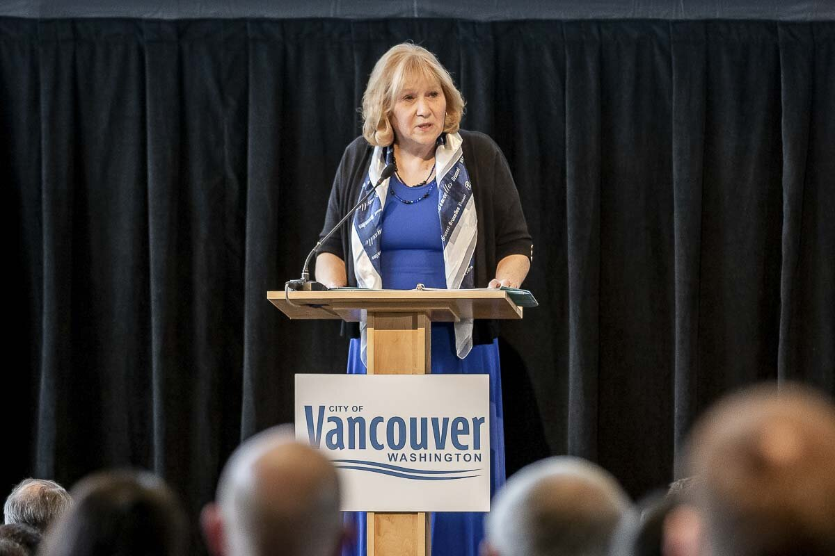 Vancouver Mayor Anne McEnerny-Ogle will deliver the 2021 State of the City Address on March 29. McEnerny-Ogle is shown here delivering a recent year's State of the City Address. Photo by Mike Schultz