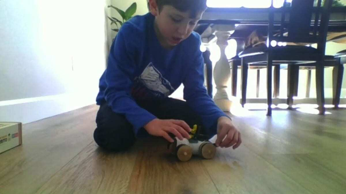 Clayton Anderson's go-kart used a lightweight paper tube to roll across the floor. Photo courtesy of Ridgefield School District