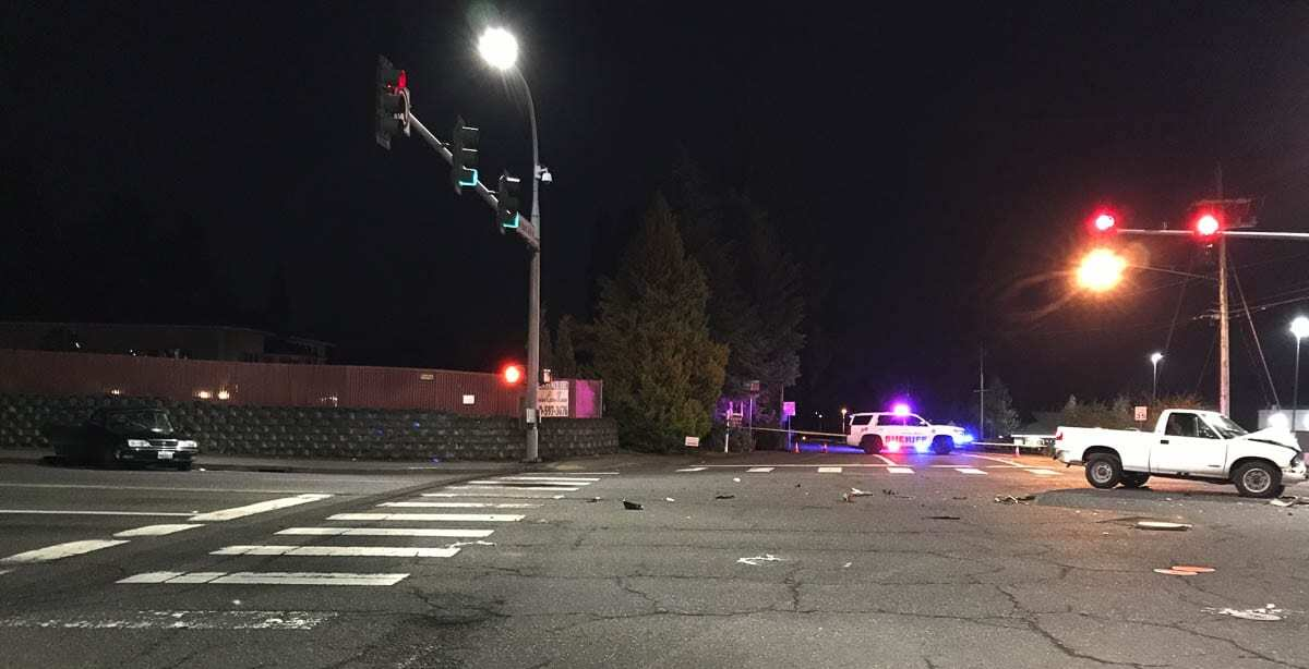 On Monday at 7:08 p.m., Fire District 6 personnel witnessed a two-vehicle collision at the intersection of NE 99th Street and NE Hazel Dell Avenue in Vancouver. Photo courtesy of Clark County Sheriff's Office