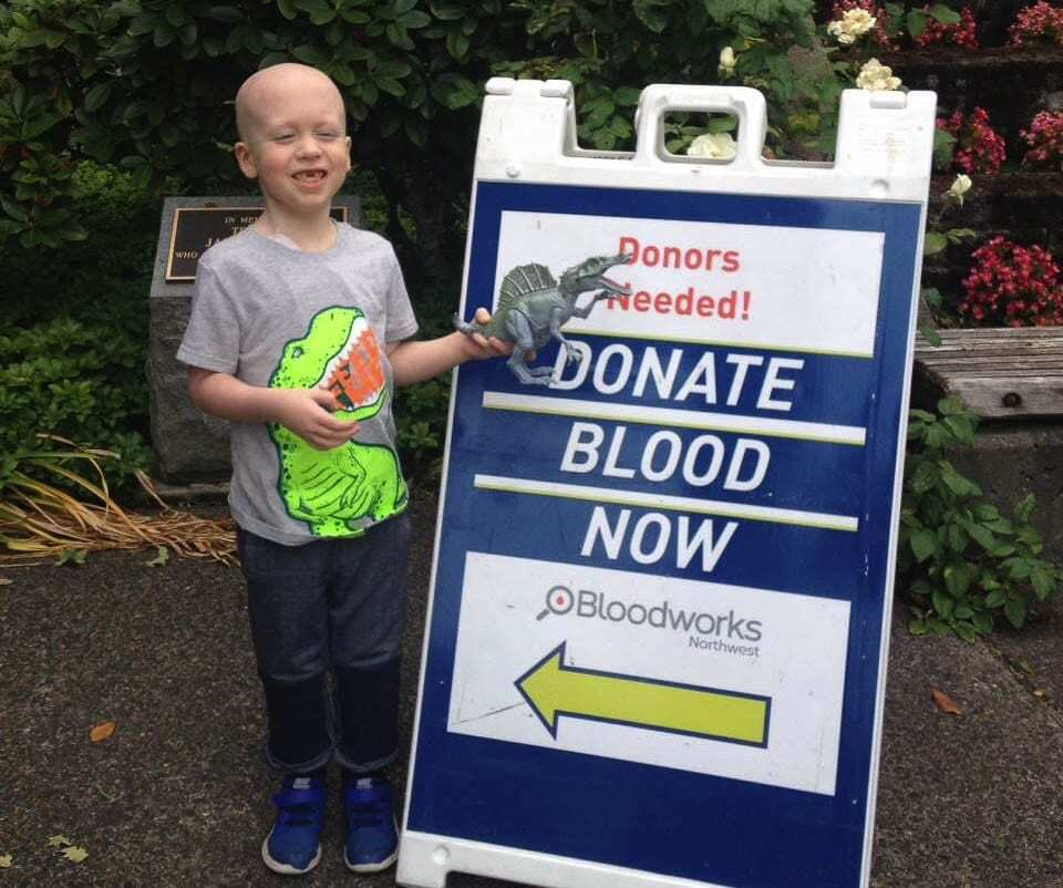 """Declan Reagan used to call blood drives """"blood parties."""" He would hold hands of any adult who was afraid of needles, assuring them that they would be OK. Photo courtesy Lauren Reagan"""