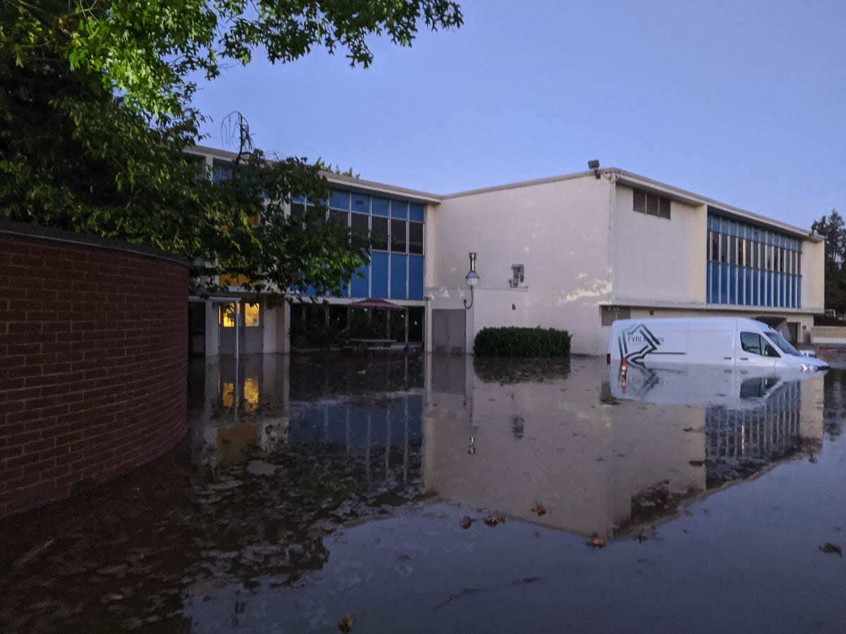 A major flood in Oct. 2020 caused massive damage to the current Fort Vancouver Library headquarters building on East Mill Plain Boulevard. Photo courtesy Fort Vancouver Regional Library